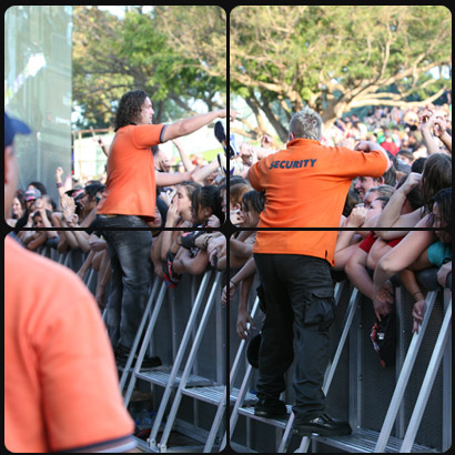 Crowd Barriers in use at concert event